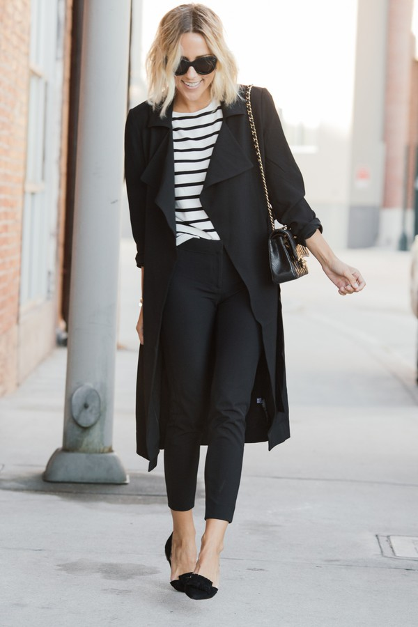 damsel in dior blogger flats cropped pants striped top duster coat long coat black coat french girl style