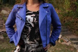 perfecto blue jacket leather jacket