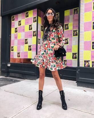 dress tumblr mini dress floral floral dress boots black boots ankle boots lace up boots bag black bag sunglasses