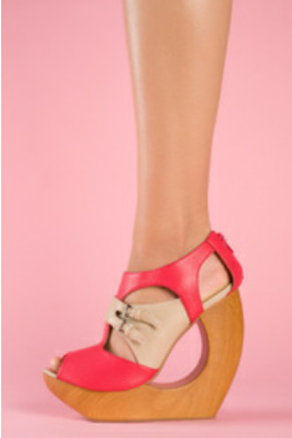 coral cut-out nude wood wedges