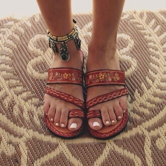 shoes red leather embellished floral boho summer gladiator flats toe strap 2 straps strappy sandals dark red brown jewels