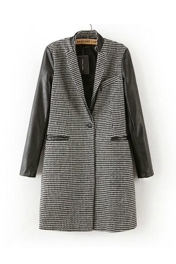 Lapel Long Woolen Coat [FEBK0169]- US$45.99 - PersunMall.com