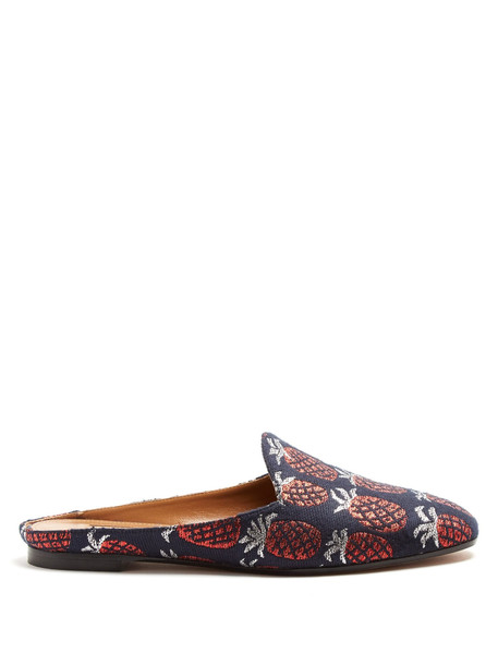 backless pineapple jacquard flats navy shoes