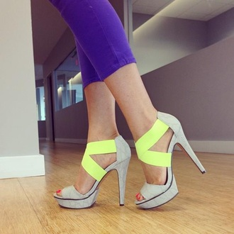 shoes high heels open toes neon green high heels grey high heels neon green and grey high heels