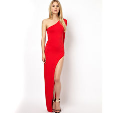 New Women's One Shoulder Maxi Evening Party Sexy Formal Dress with Thigh Split