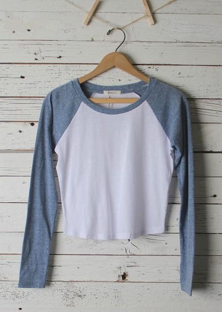 top crop tops baseball tee shirt