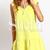 Yellow Ruffle V Neck Backless Drop Waist Dress -SheIn(Sheinside)