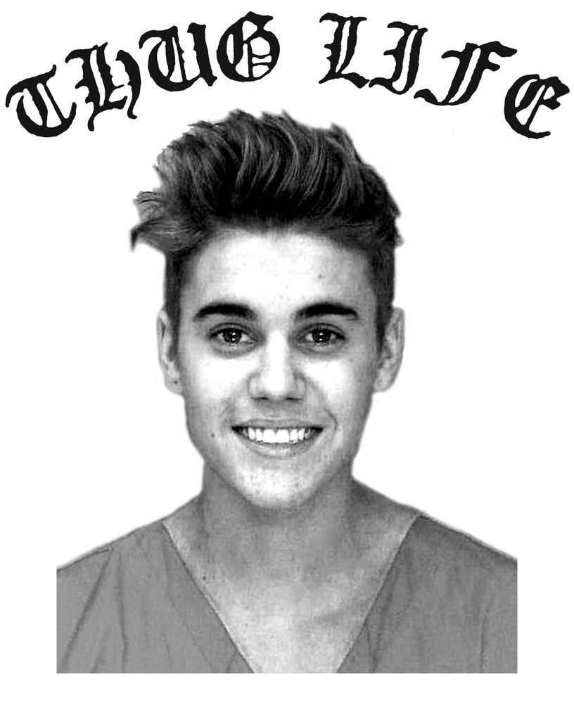 Justin MUGSHOT Bieber Thug Life Belieber Miami Twist Tupac