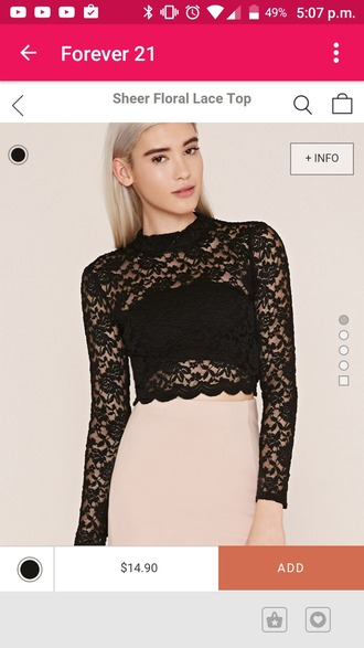 top black lace top lace crop top