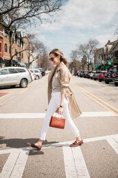 bag,white pants,pants,top,coat,brown bag,sunglasses,trench coat