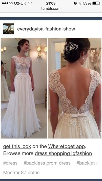 Dress Wedding Lace White Cut Out Back Simple