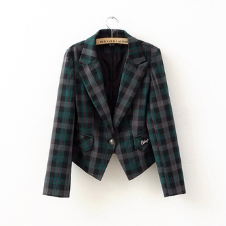 top blouse blazer tartan green