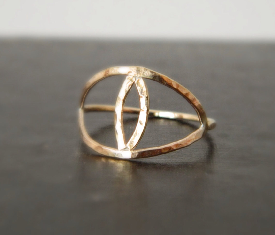 Gold Evil Eye Ring, Midi Ring, Available Sterling Silver