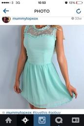 dress,mint,pretty,lace