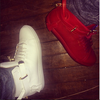 shoes red white sneakers khalil justin bieber justin bieber locks gold