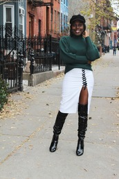 celeajade,blogger,hat,sweater,skirt,shoes,fisherman cap,green sweater,boots,over the knee boots,white skirt