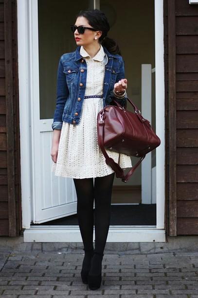 dress bag jacket white dress denim jacket black heels burgundy bag blogger