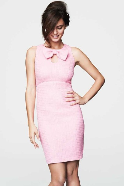 boucle wool bow vintage bodycon pink dress