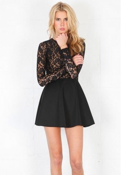 Avery Long Sleeve Lace Open Back Dress in (black) | Lyst