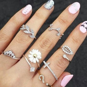 ring,nails,boho jewelry,jewelry,jewels,silver mid rings