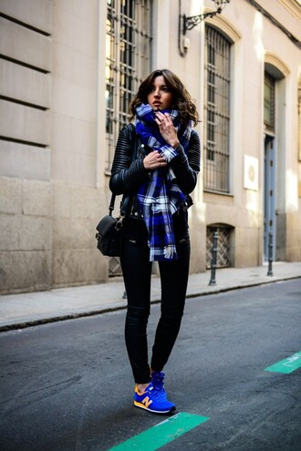 shoes blue plaid scarf leather jacket black jeans new balance sneakers black handbag blogger