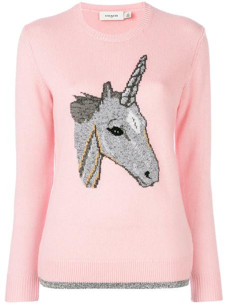 coach sweater unicorn women wool purple pink