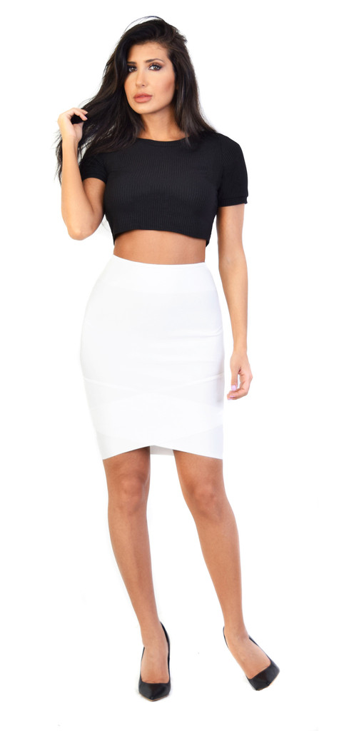 Glamorous black ribbed short sleeve crop top