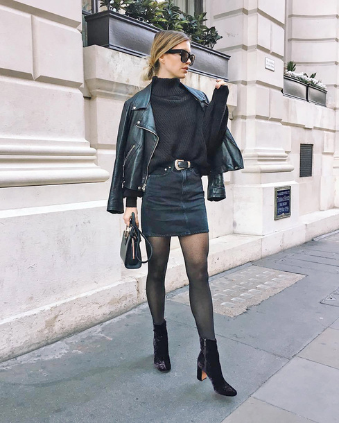 jacket tumblr black jacket leather jacket black leather jacket tights denim denim skirt skirt mini skirt sweater black sweater bag