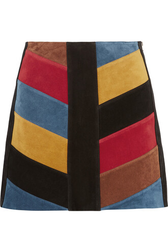 skirt mini skirt mini patchwork suede chevron black