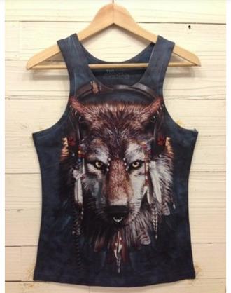 wolf native american piercing black tank top