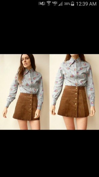 blouse floral blue pink red purple yellow button up long sleeves thin 1970 70s style beige dress beige skirt felt brown