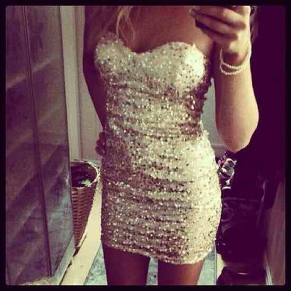 dress sequin gold strapless