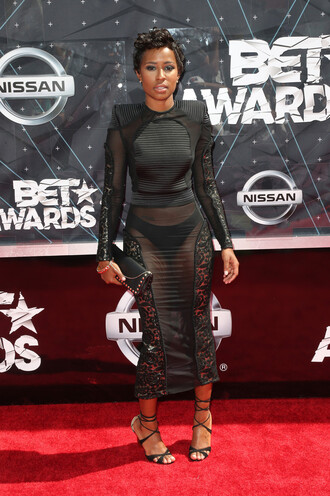 dress sheer dej loaf sandals bodycon midi dress long sleeve dress black dress black underwear bet awards