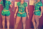 romper,jumpsuit,green dress,chic,dope,cool girl style,gold,t-shirt,shorts,clothes,fashion,palm tree print,tropical