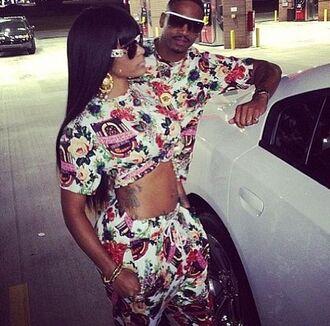 sunglasses urban t-shirt top sexy cute floral cool girly girl roses rose crop tops tattoo black girls killin it