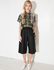 pants,black leather culottes,korean fashion,korean trends,korean style,nanda style,ootd,daily look,daily find,pixie market,pixie market girl,pixie girl,fashion,summer outfits,cute,cute fashion,trendy fashion,leather culottes,black culottes,culottes,prefall,leather