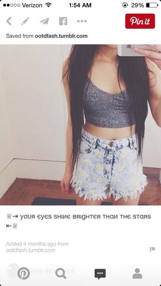 top grey top crop tops crop bustier high waisted shorts denim shorts daisy summer top summer shorts shorts