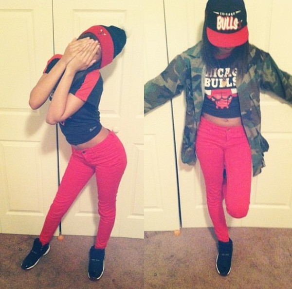 shirt chicago bulls hat jacket shoes pants you guud on point all red b*tch thuggish