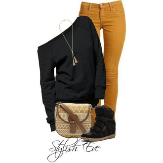 bag fall outfits black sweater casual wedge sneakers off the shoulder