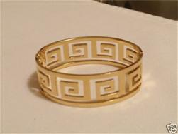 GOLD VERSACE GREEK BANGLE CUFF BRACELET * NEW 2012