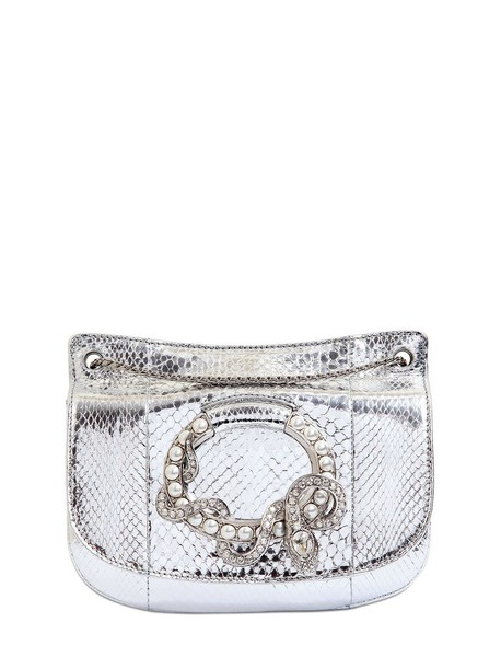 Roberto Cavalli snake metallic bag shoulder bag silver