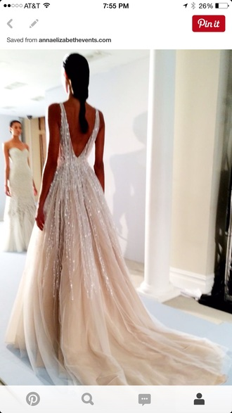 dress wedding dress beautiful prom dress prom sequins gold sequins hot low v back sparkling wedding  gown