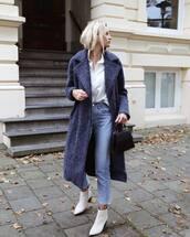 coat,tumblr,blue coat,shirt,white shirt,denim,jeans,blue jeans,boots,white boots,ankle boots,bag,black bag