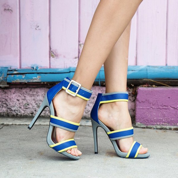 shoes heels blue heels strappy heels mod modern shoes modern heels fashion trendy qupid
