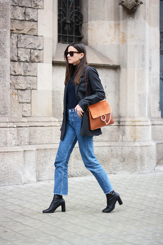 fashion vibe blogger jacket jeans shoes sweater bag sunglasses