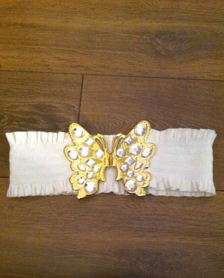 River Island White & Gold Jewel Butterfly Clasp Elasticated Waist Belt S | eBay