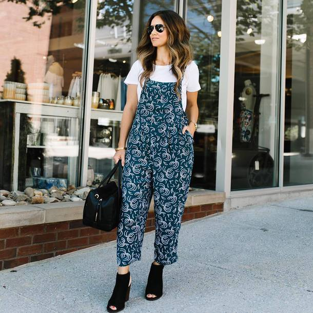 5f52a0e5ac jumpsuit tumblr overalls dungarees denim overalls t-shirt white t-shirt  peep toe heels