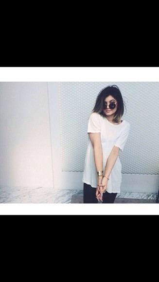 t-shirt white t-shirt kylie jenner tshirt dress tshirt dress short sleeve steal her style steal the look