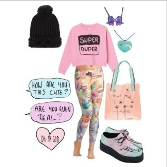 shirt grunge kawaii pink soft bunny cute polyvore beanie spring summer creepers goth punk vans pastel goth punk rock shoes leggings asos 00