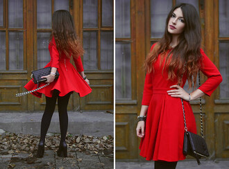 dress red dress black shoes brunette fall outfits long slevees black purse handbag pumps door